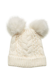 Toddler Cable-Knit Pom Beanie - IVORY FROST