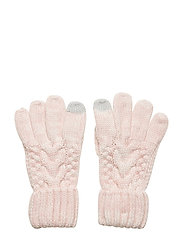 Kids Cable-Knit Smartphone Gloves - PINK STANDARD