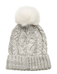 Kids Cable-Knit Pom Beanie - B10 GREY HEATHER