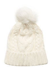 Kids Cable-Knit Pom Beanie - IVORY FROST