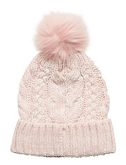 Kids Cable-Knit Pom Beanie - PINK STANDARD