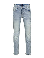 Kids Destructed Slim Jeans with Stretch - LIGHT WASH