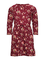Kids Print Cinched-Waist Dress - LIGHT ROSEWOOD