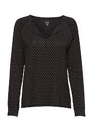 Split-Neck Modal Henley - BLACK DOTS