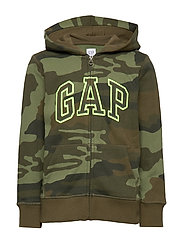 Kids Gap Logo Camo Hoodie Sweatshirt - GREEN CAMO
