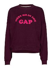 Gap Flocked Logo Crewneck Sweatshirt - SECRET PLUM