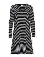 U-Neck Swing Dress - BLACK/WHITE STRP - J