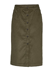 Corduroy Button-Front Midi Skirt - BLACK MOSS