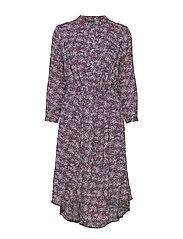 Floral Print Midi Shirtdress - NAVY FLORAL