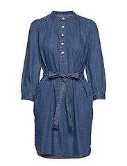Shirred Popover Denim Shirtdress - MEDIUM WASH