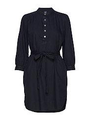 Shirred Popover Denim Shirtdress - BLACK WASH