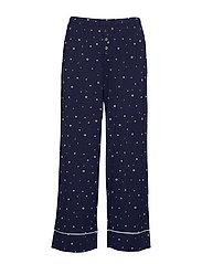 Ankle Flare Pants in Modal - NAVY WHITE STAR FLOWER