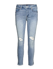 Mid Rise Distressed True Skinny Ankle Jeans - LIGHT DESTROY