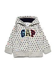 Baby Gap Logo Brannan Bear Hoodie Sweatshirt - LIGHT HEATHER GREY B08