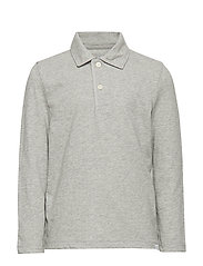 LS JERSEY POLO - LIGHT HEATHER GREY