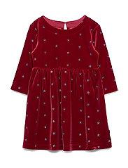 Kids Glitter Star Velvet Dress - LIGHT ROSEWOOD