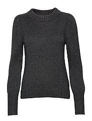 Puff Sleeve Crewneck Sweater - CHARCOAL HEATHER