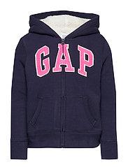 Kids Gap Logo Sherpa Hoodie Sweatshirt - NAVY UNIFORM
