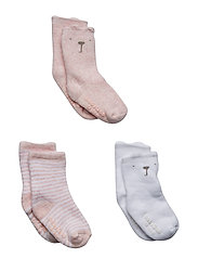 Baby Brannan Bear Crew Socks (3-Pack) - PINK HEATHER B0459