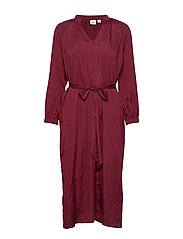 Split-Neck Midi Dress - BELL BURGUNDY