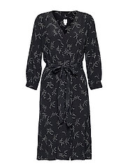V-Neck Midi Shirtdress - BLACK FLORAL