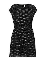 Metallic Clip-Dot Skater Dress - TRUE BLACK V2