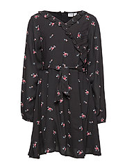 Kids Ruffle Wrap Dress - TRUE BLACK