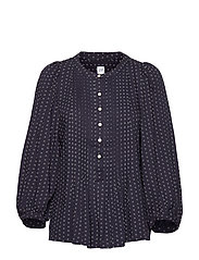 Pleated Popover Top - NAVY PRINT