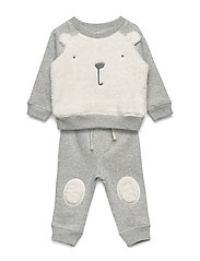 V-B COZY BEAR SET - LIGHT HEATHER GREY B08