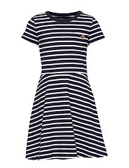 Kids Print Fit and Flare Dress - NAVY STRIPE