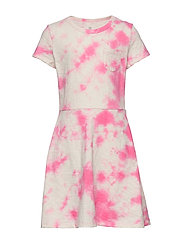 Kids Print Fit and Flare Dress - PINK TIE DYE