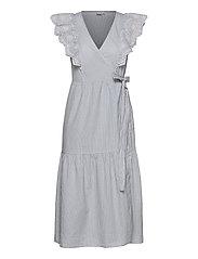 Flutter Sleeve Midi Wrap Dress - BLUE/WHITE STRIPE