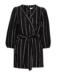 Puff Sleeve V-Neck Romper - BLACK STRIPE