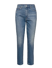 High Rise Distressed Cigarette Jeans - DARK INDIGO 4