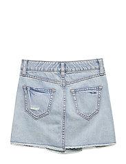 Kids Destructed Denim Skirt - LIGHT DENIM
