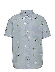 Kids Tropical Button-Down Shirt - BLUE PRINT STRIPE