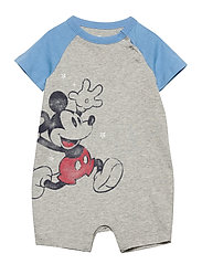 babyGap | Disney Mickey Mouse Shorty One-Piece - LIGHT HEATHER GREY B08