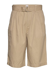 High Rise Belted Bermuda Shorts - NEW SAND