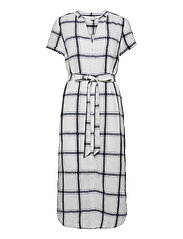 Midi Shirtdress in Linen-Cotton - NAVY WINDOWPANE