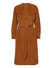 LS CORD SHIRTDRESS - CHESTNUT 616