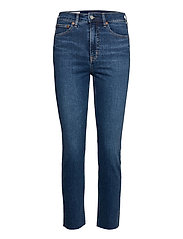 High Rise Cigarette Jeans with Secret Smoothing Pockets With - DARK INDIGO 10