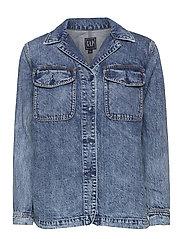 Denim Shirt Jacket - MEDIUM INDIGO 20