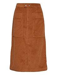 A-line Corduroy Midi Skirt - CHESTNUT 616