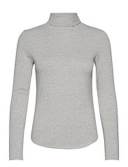 Fitted Funnel-Neck T-Shirt - HEATHER GREY