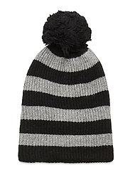 Reversible Pom Beanie - BLACK HEATHER STRIPE