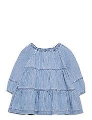 Baby Denim Tiered Dress - DENIM 616