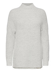 Mockneck Tunic Sweater - LIGHT HEATHER GREY