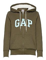 Gap Logo Sherpa Hoodie - BLACK MOSS