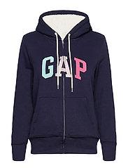 Gap Logo Sherpa Hoodie - NAVY UNIFORM