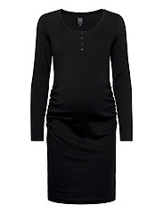 Maternity Scoopneck Henley Dress - TRUE BLACK